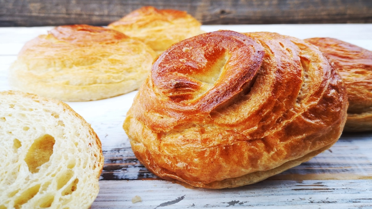 Dinkel Danish Bäckerhandwerk aufgeschnitten Krume frisch gebacken